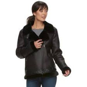 Sebby Collection  Faux-Shearling Trim Moto Jacket